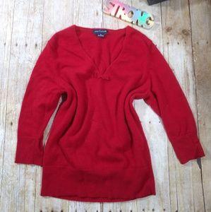 Ann Taylor red half sleeve sweater SZ M (B9)